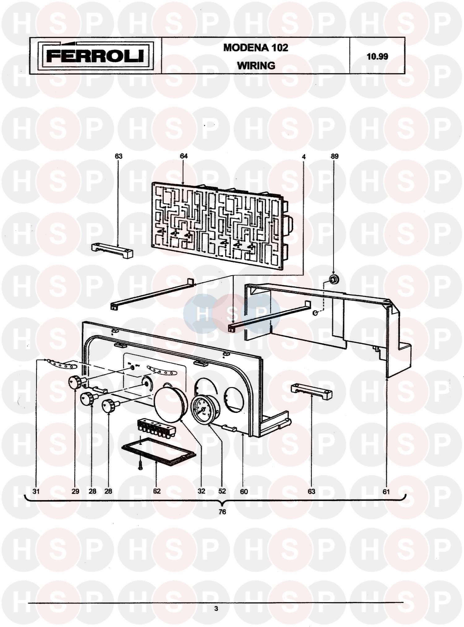 Ferroli MODENA 102 Appliance Diagram (BOILER ASSEMBLY 2