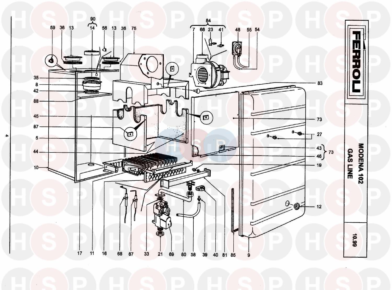 ferroli modena 102  burner  u0026 controls  diagram