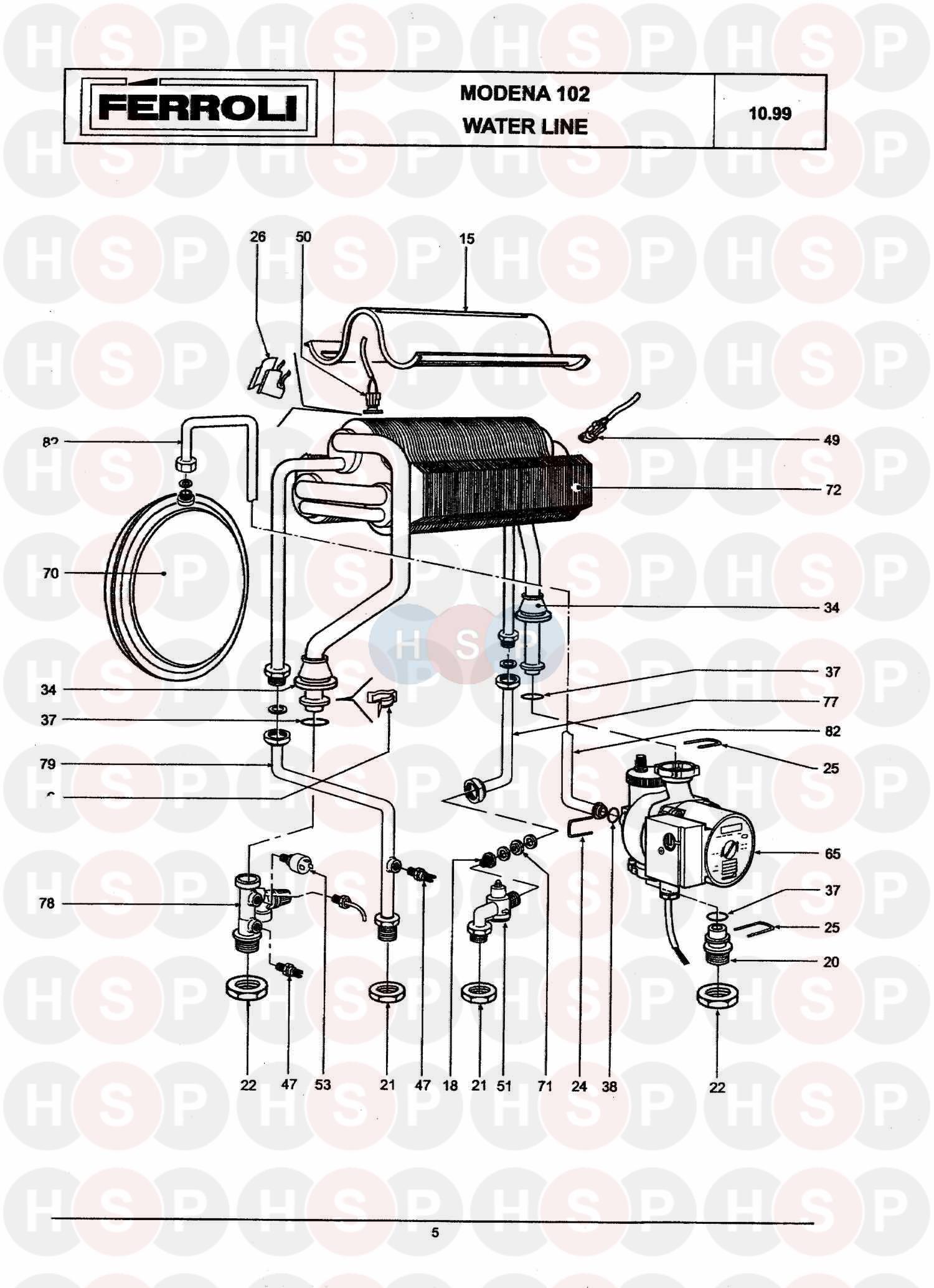 Ferroli MODENA 102 (HEAT EXCHANGER & CONTROLS) Diagram