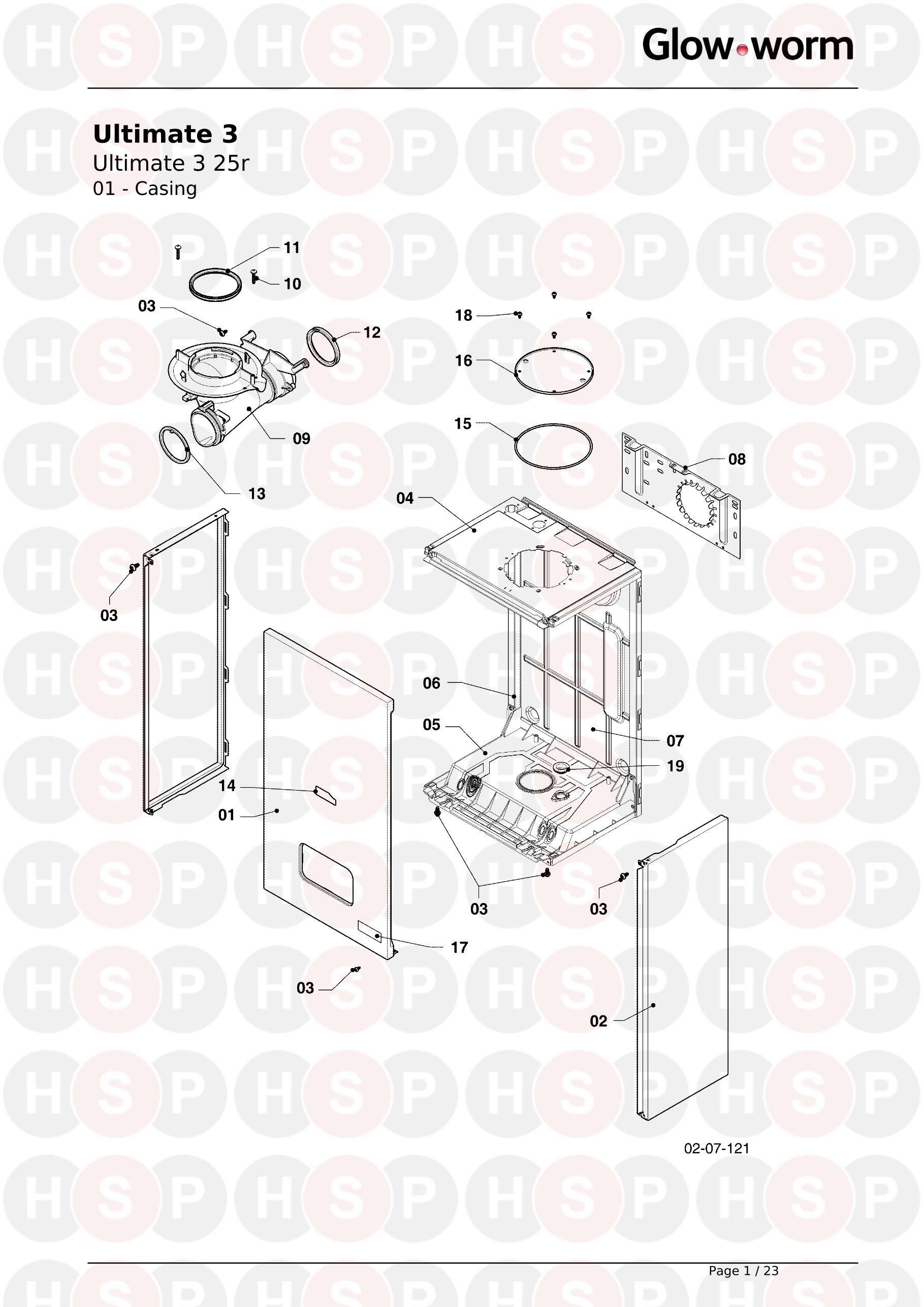 01 CASING diagram for Glowworm ULTIMATE 3 25r