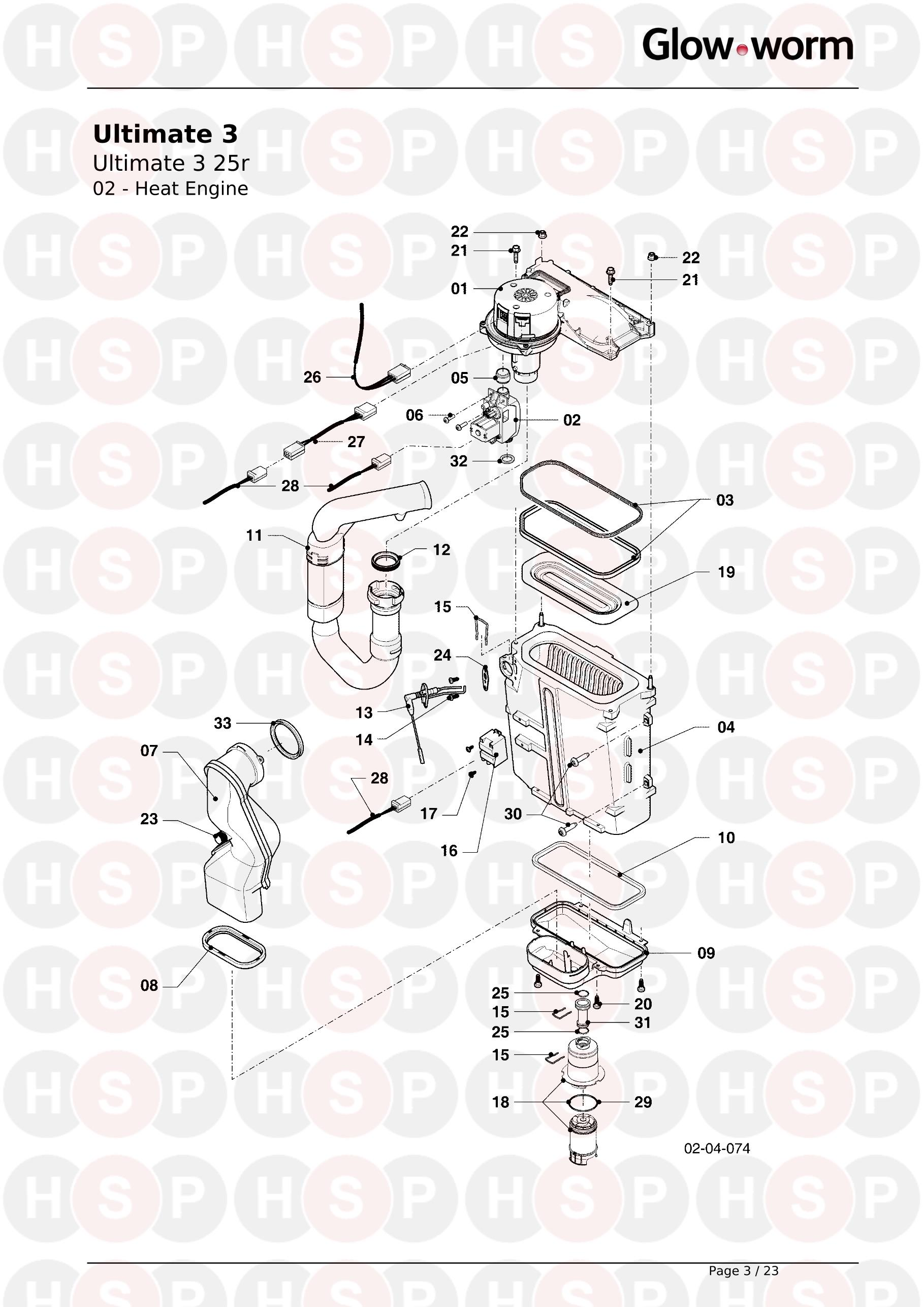 02 HEAT ENGINE diagram for Glowworm ULTIMATE 3 25r