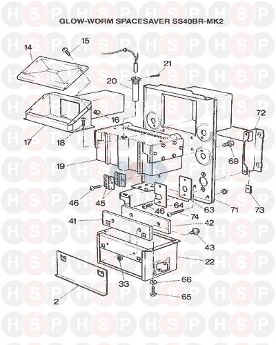 Glowworm Spacesaver 30 40 50 60 /& 80 B BR CF /& R Mark 2 Electrode S900500 900500