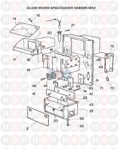 Glowworm SPACE SAVER 80 BR MKII 1988 AVA (BOILER ASSEMBLY) Diagram ...