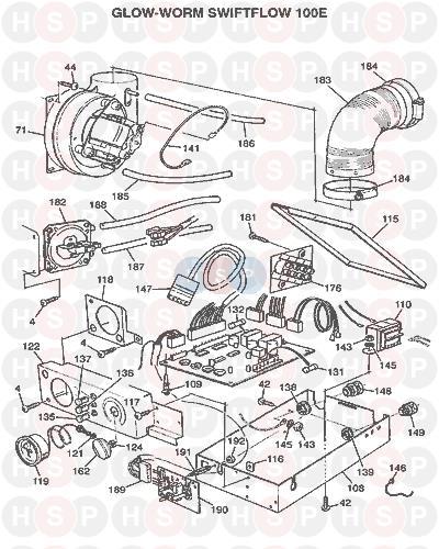 Glowworm SWIFTFLOW 100 E 1996 AVA (CONTROLS & FAN) Diagram | Heating ...
