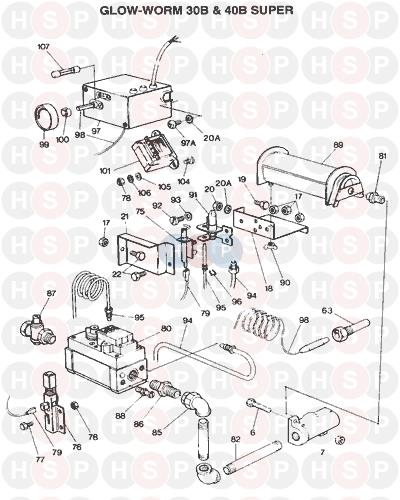 Glowworm 30 SUPER BF 1976 AVA (BURNER & CONTROLS) Diagram