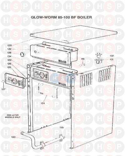 CONTROLS CASING diagram for Glowworm GW 85-100 BF 1975 AVA