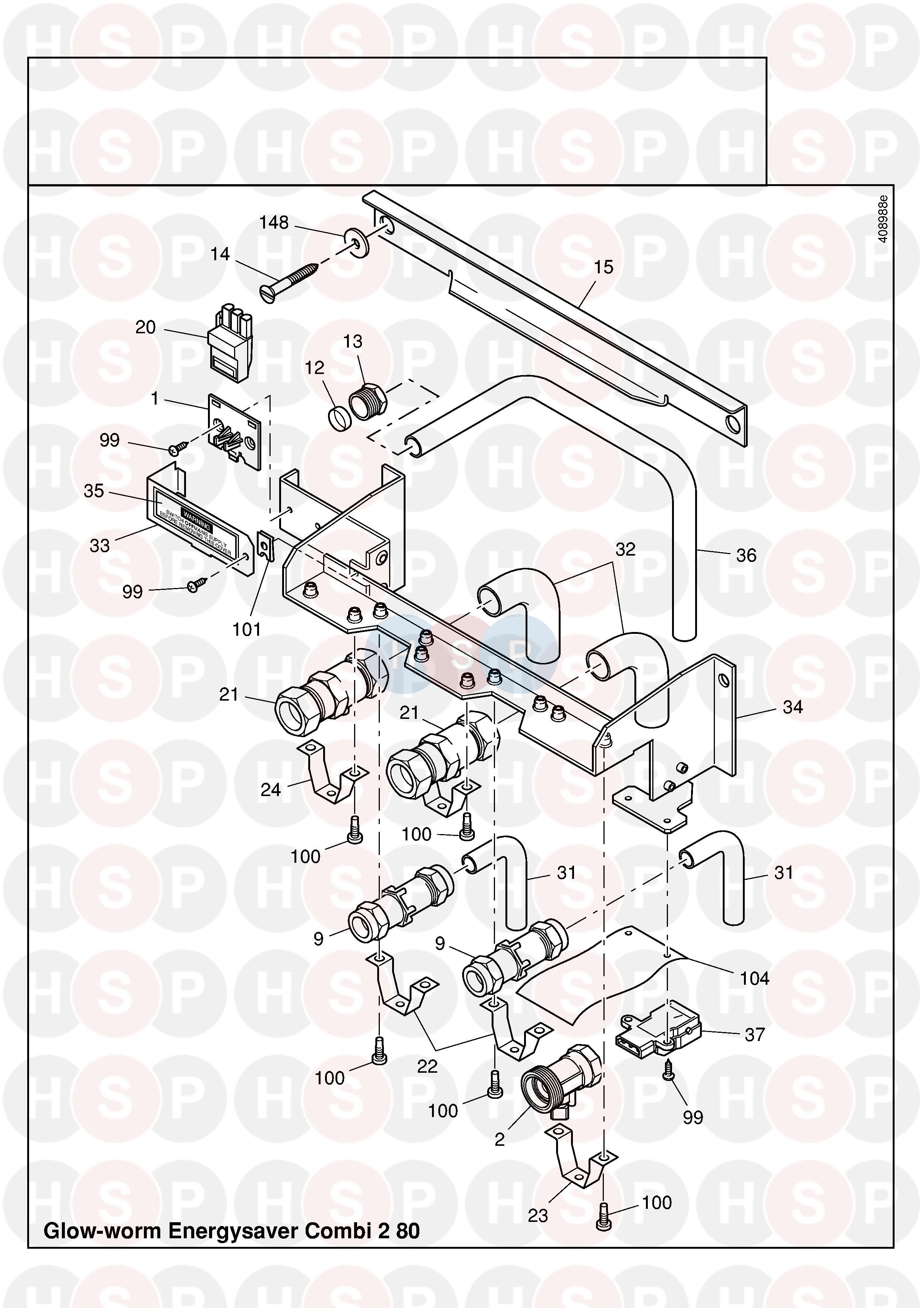 Glowworm ENERGYSAVER COMBI 2 80 (PIPE WORK 2) Diagram