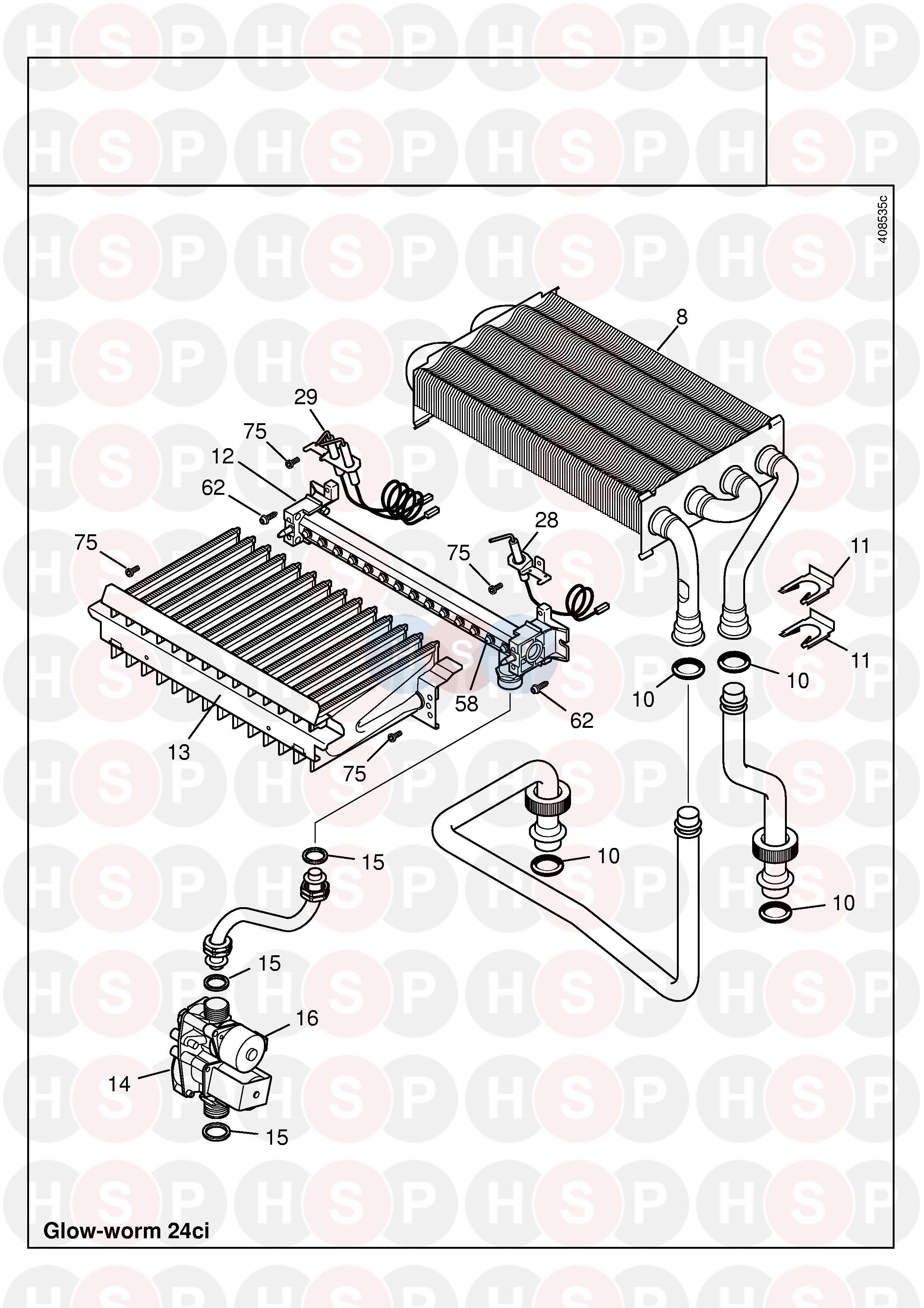 Glowworm GLOWWORM 24CI (HEAT EXCHANGER) Diagram | Heating Spare Parts