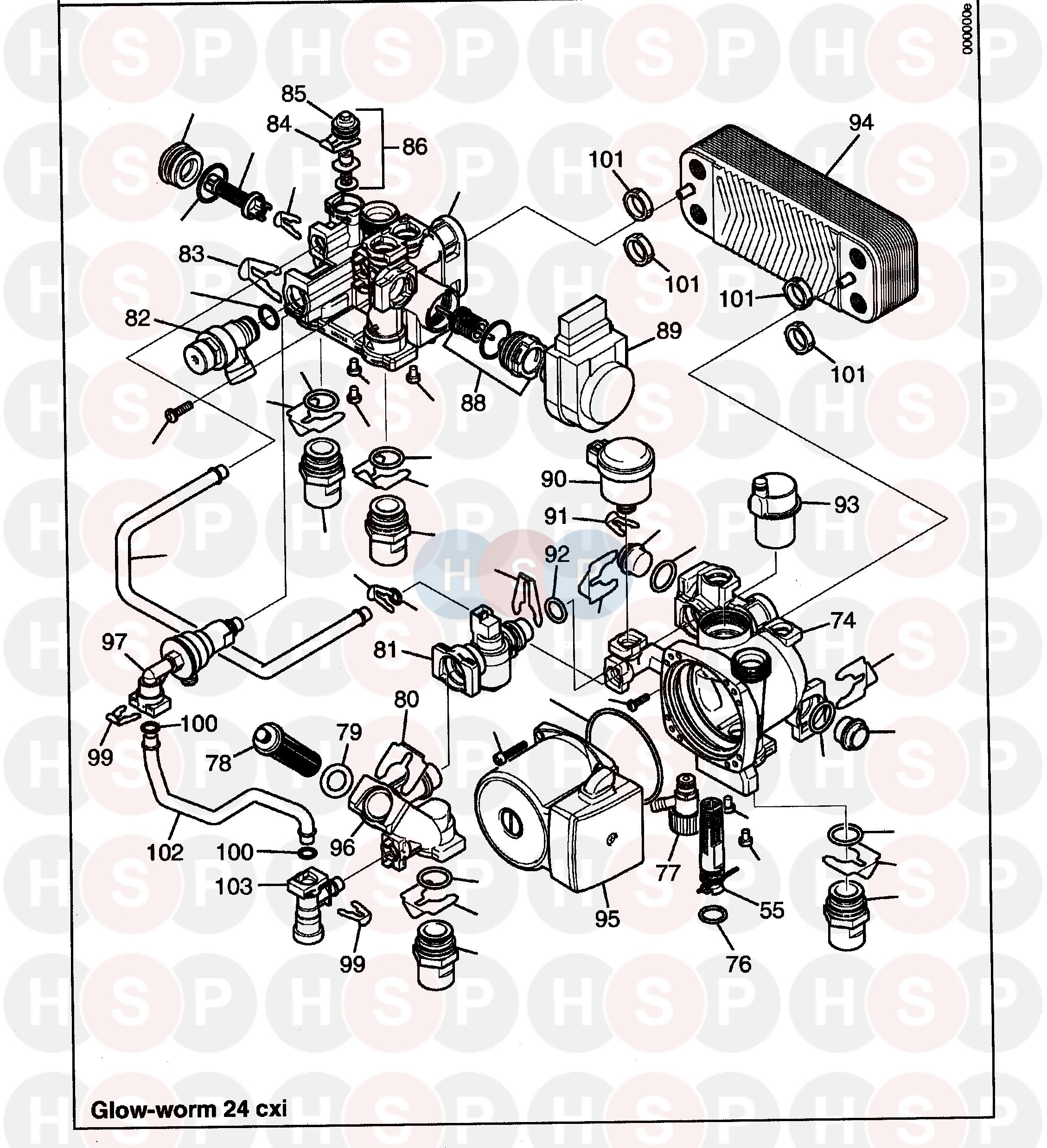 Glowworm GLOWWORM 38CXI (Pump) Diagram | Heating Spare Parts