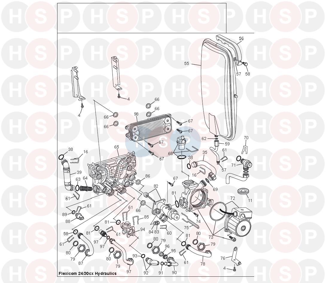 Glowworm FLEXICOM 24 CX (Hydraulics) Diagram | Heating Spare Parts