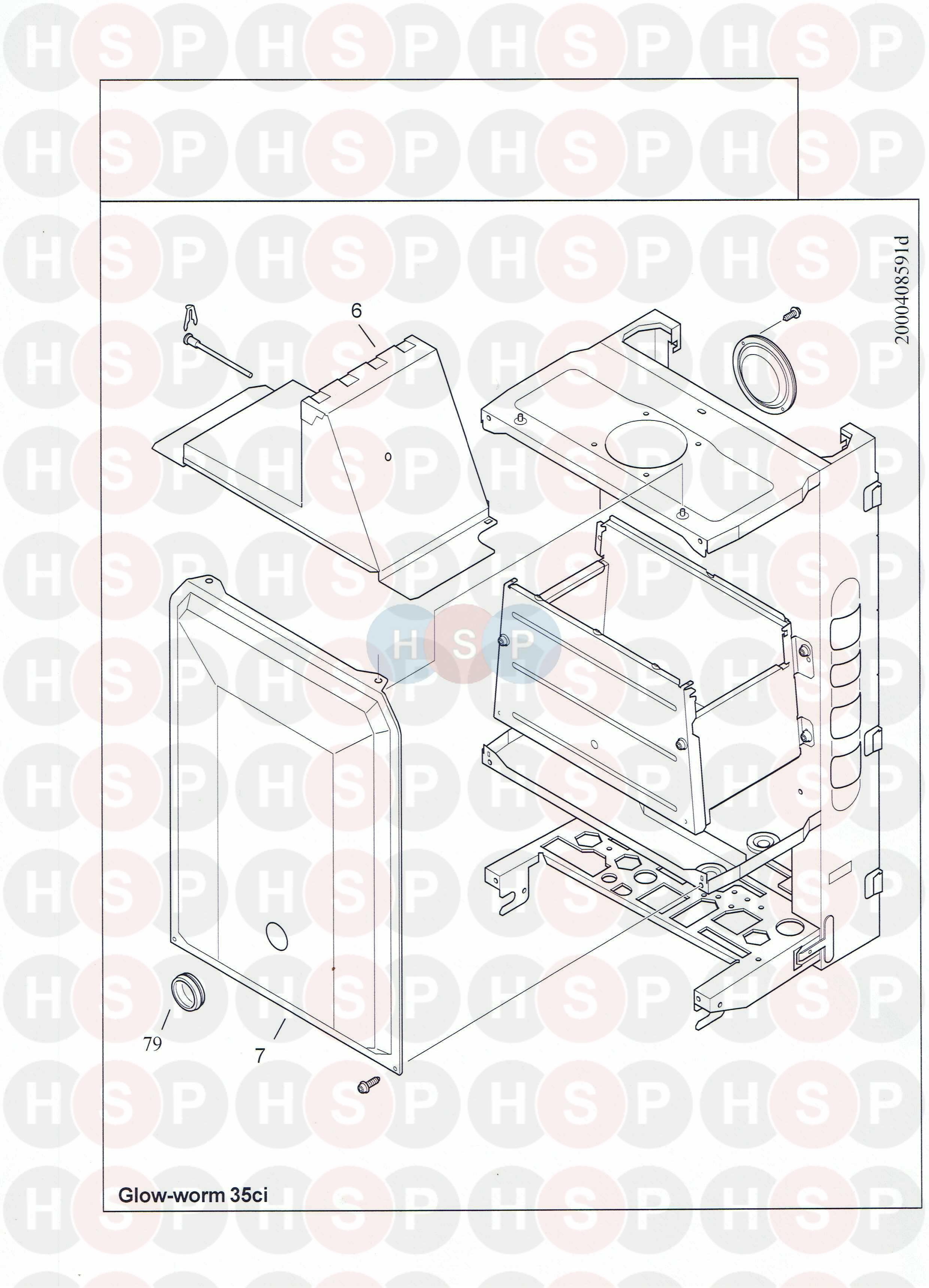 Glowworm GLOWWORM 35CI Appliance Diagram (FLU HOOD) | Heating ...