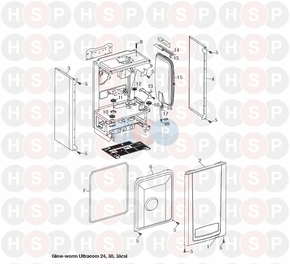 Glowworm ULTRACOM 30CXI (Combustion Box) Diagram | Heating Spare Parts