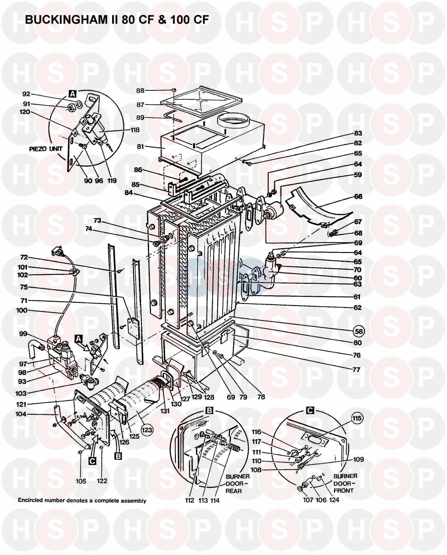 Halstead BUCKINGHAM II 80 CF (BOILER ASSEMBLY 1) Diagram