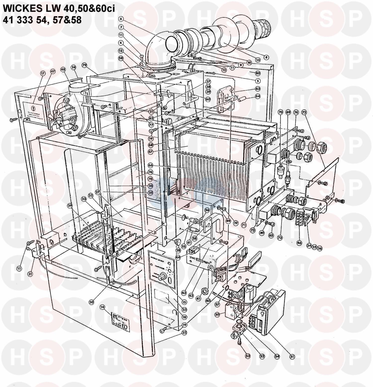 Halstead WICKES LW 50CI Appliance Diagram (BOILER ASSEMBLY
