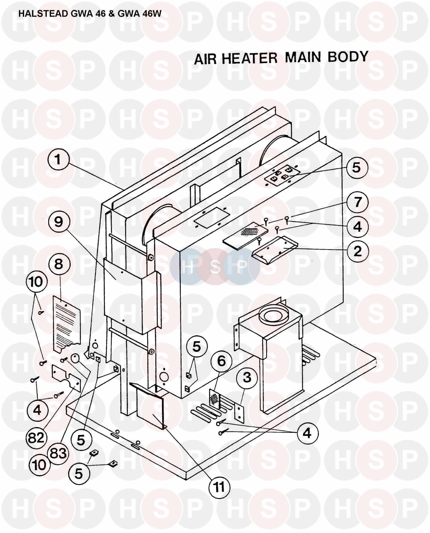 halstead gwa 46w appliance diagram air heater heating. Black Bedroom Furniture Sets. Home Design Ideas