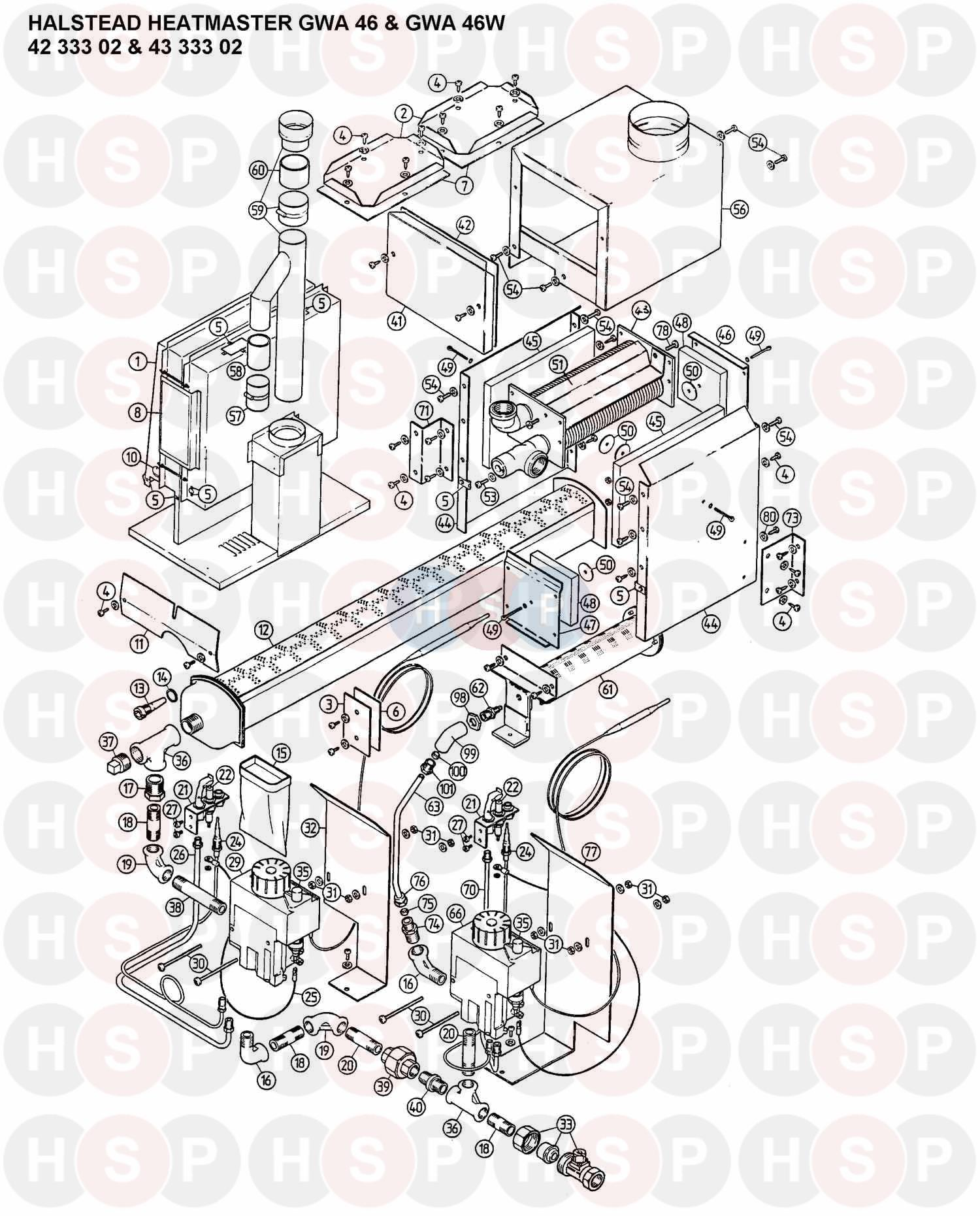 Halstead HEATMASTER GWA46W (HEATER ASSEMBLY) Diagram