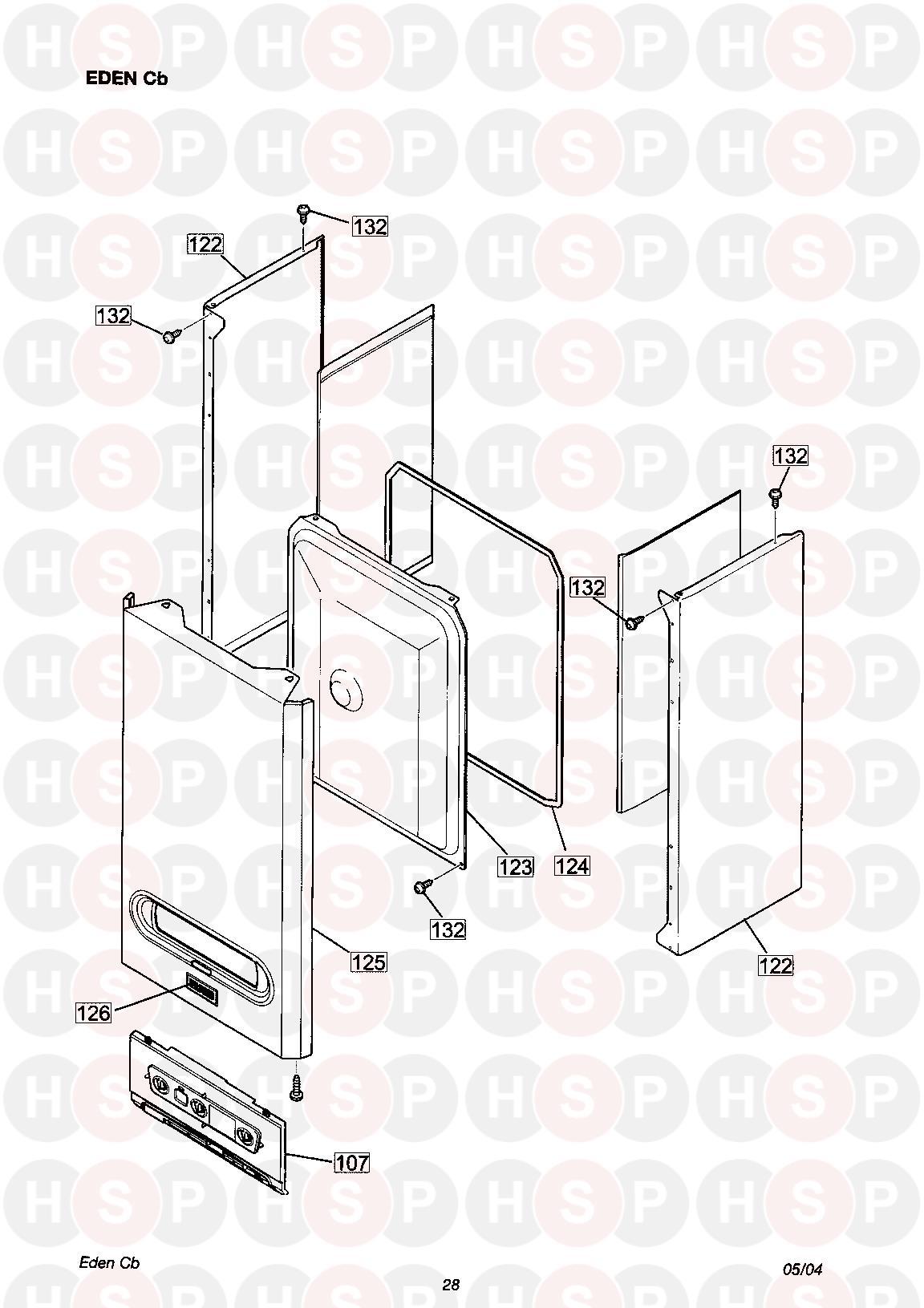 halstead eden sb  casing and control panel  diagram