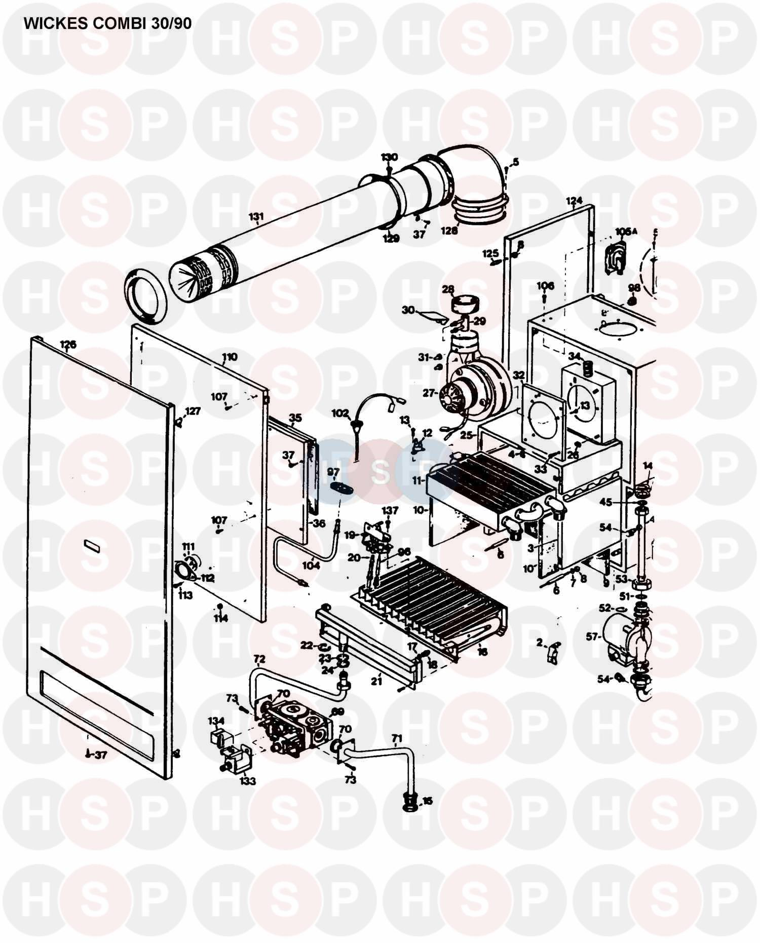 Halstead WICKES COMBI 30/90 (BOILER ASSEMBLY 1) Diagram