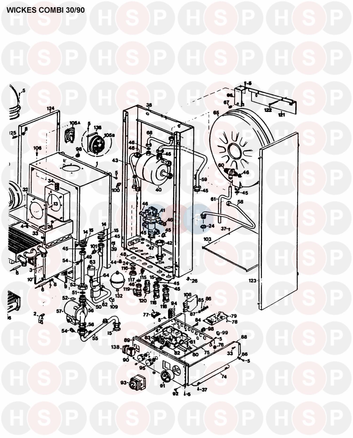 Halstead Wickes Combi 30  90  Boiler Assembly 2 Diagram