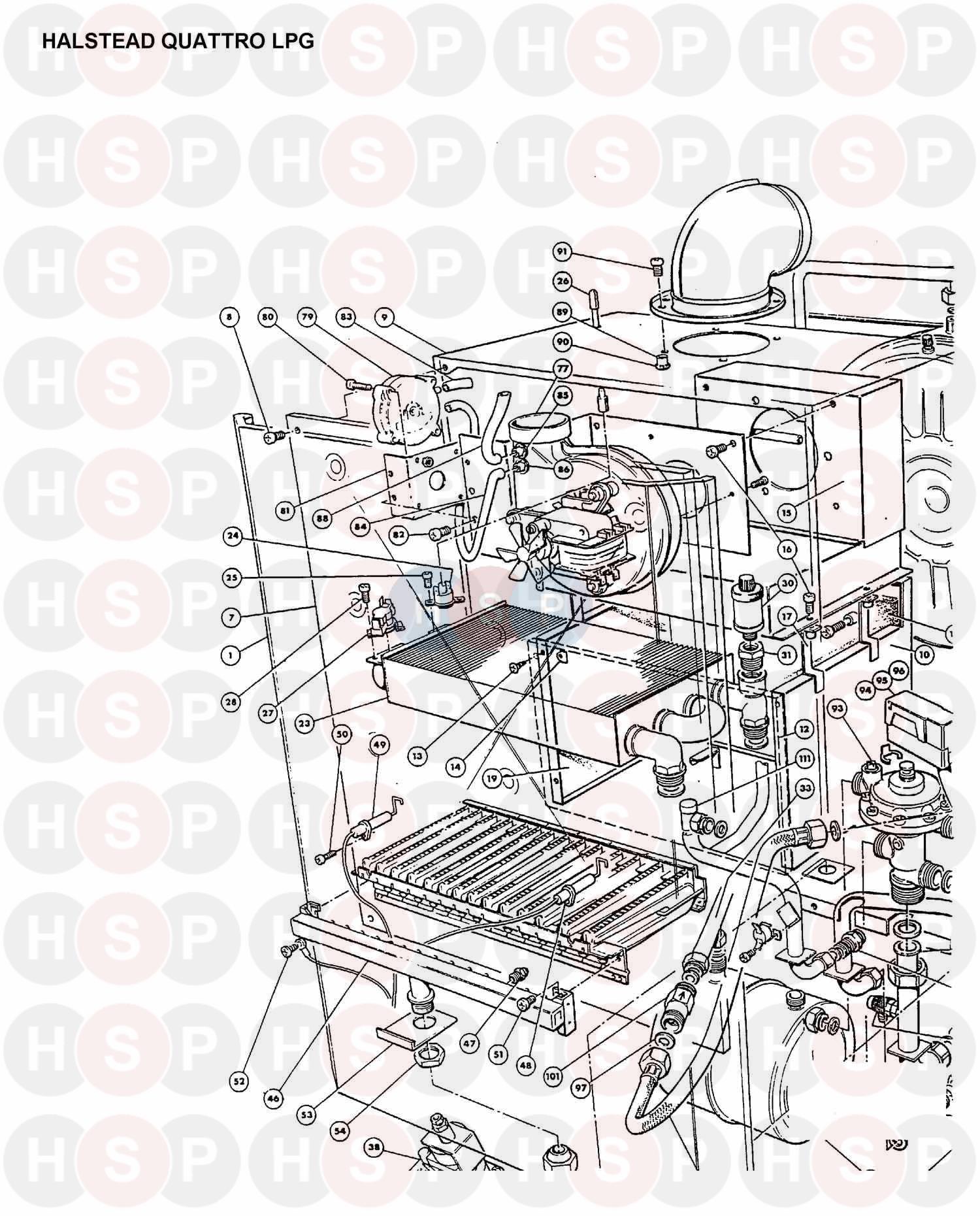 BOILER ASSEMBLY 3 diagram for Halstead QUATTRO LPG
