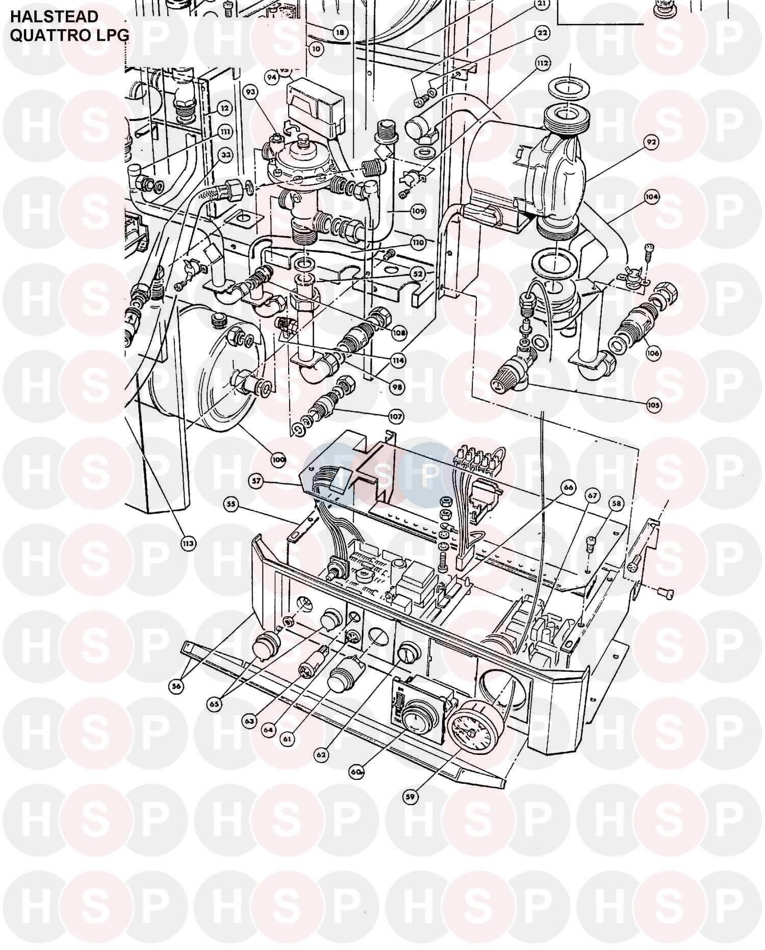Halstead Quattro Lpg Boiler Assembly 5 Diagram Heating Spare Parts Wiring Pump Overrun For