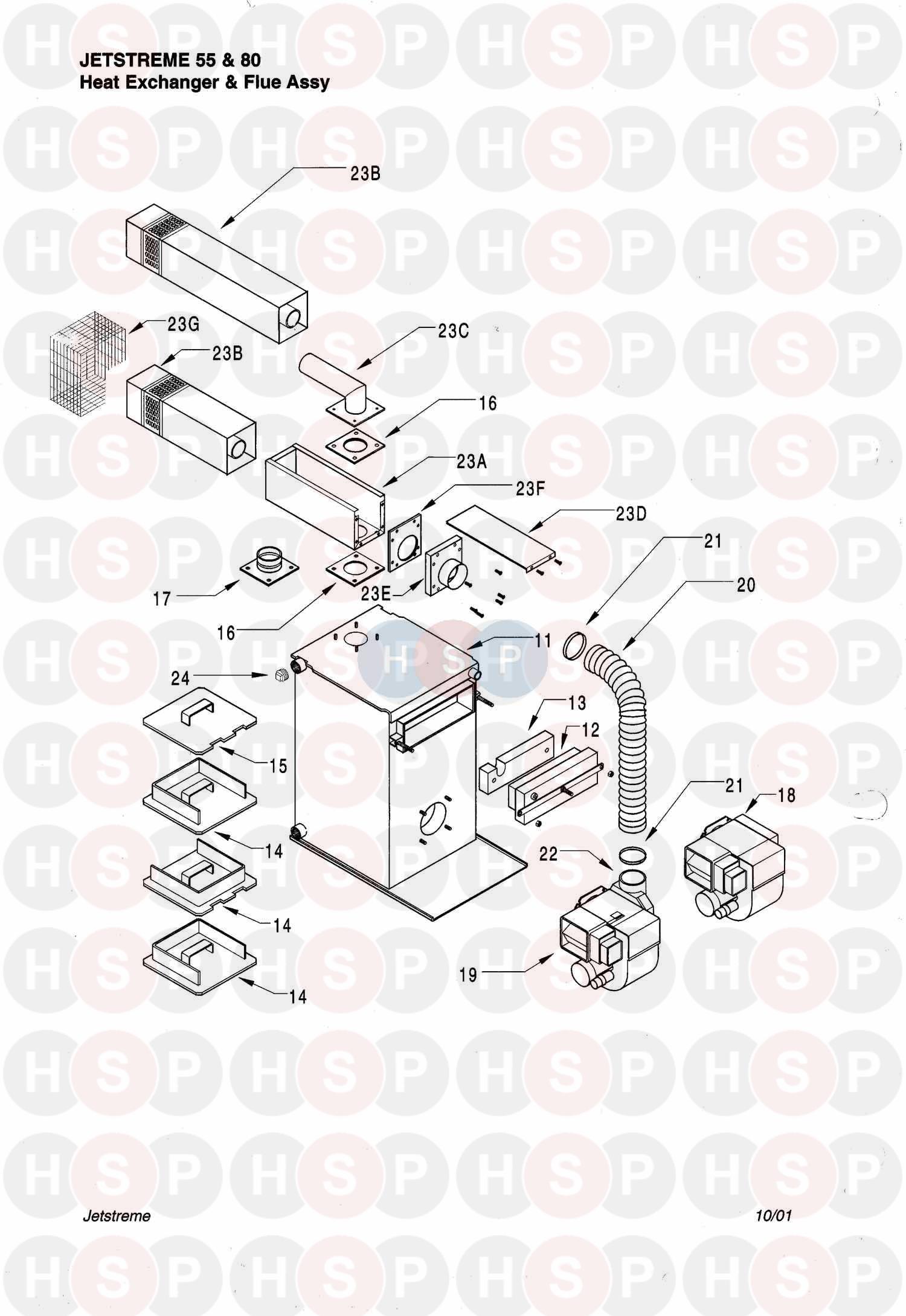 Halstead JETSTREME 55 (HEAT EXCHANGER & FLUE) Diagram