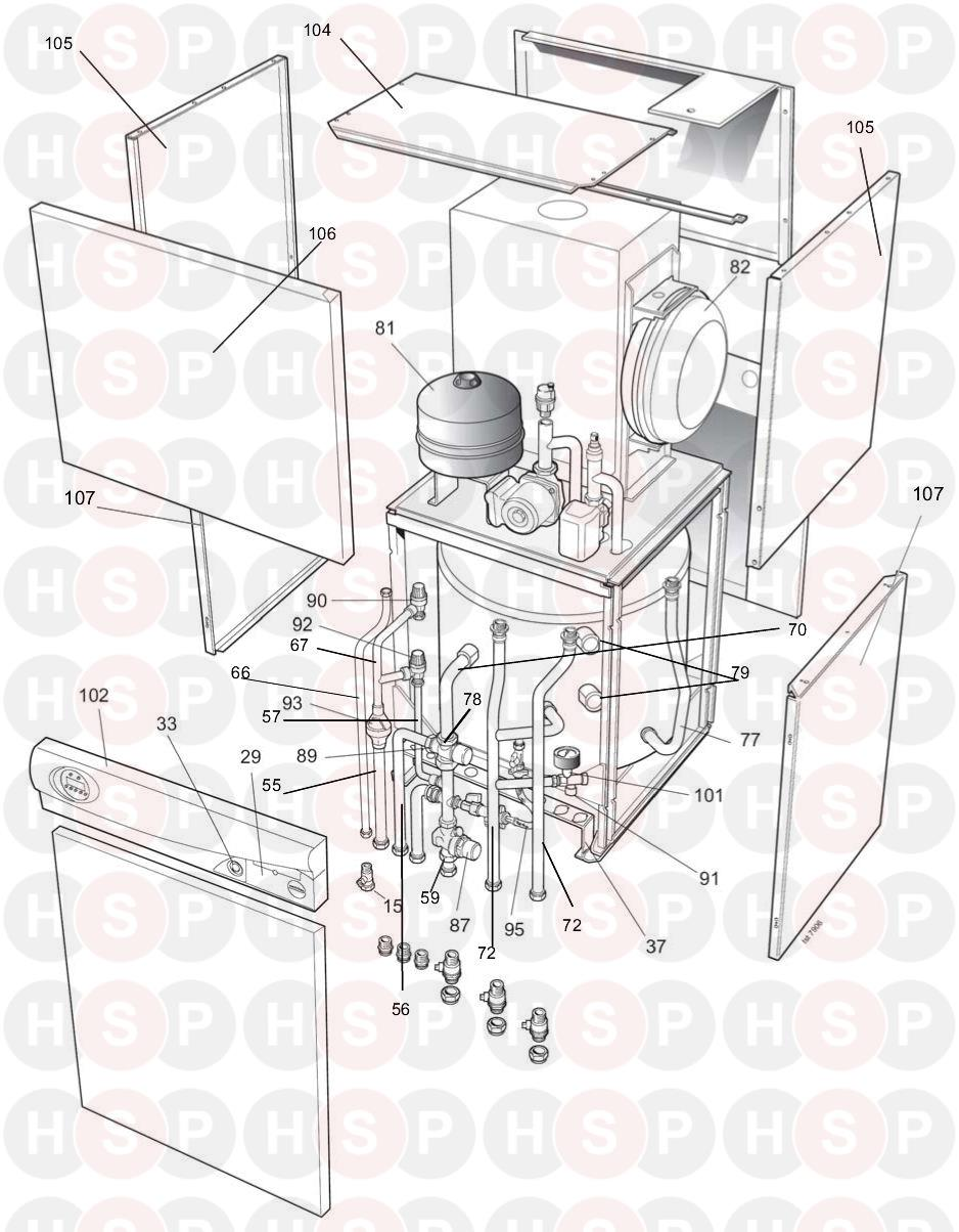 Ideal Istor He260  Boiler Exploded View Diagram