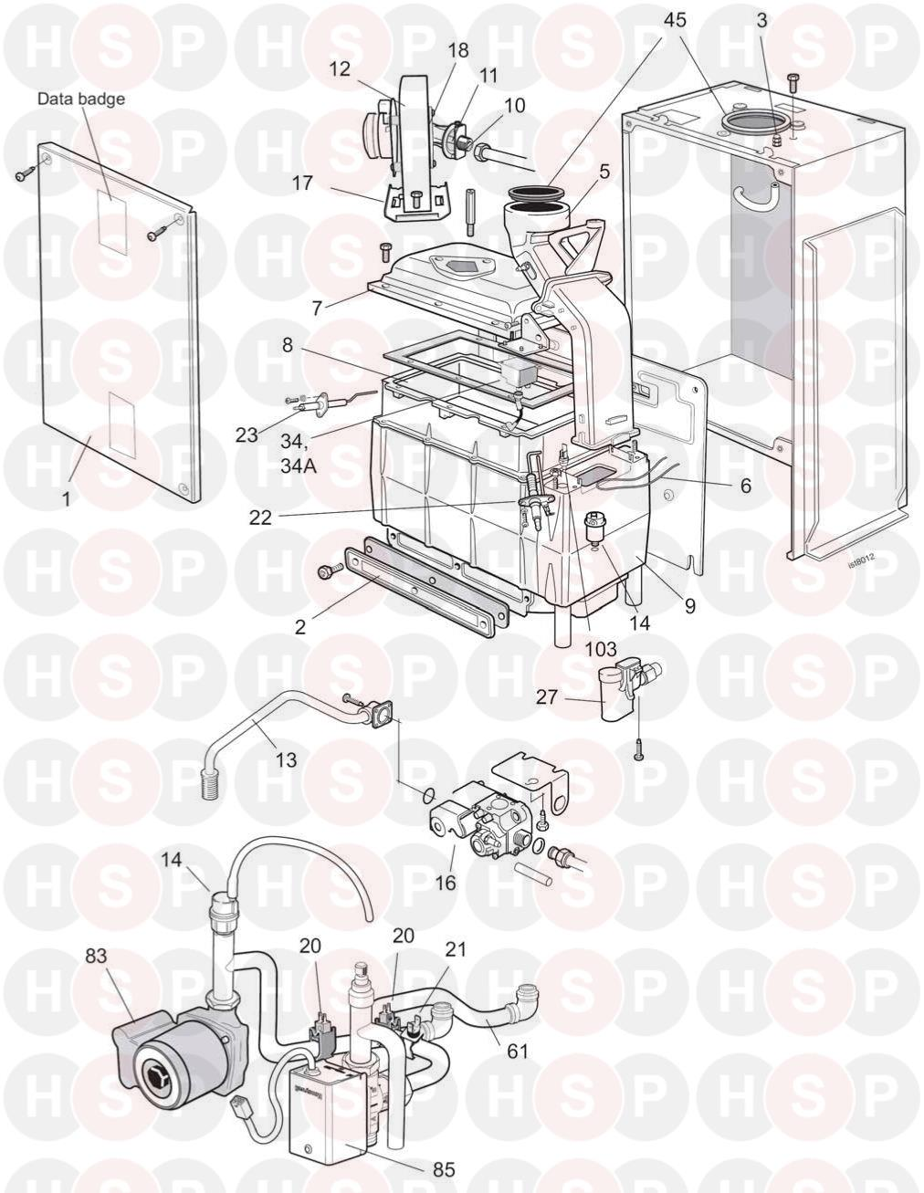 ideal istor he260  boiler module  diagram