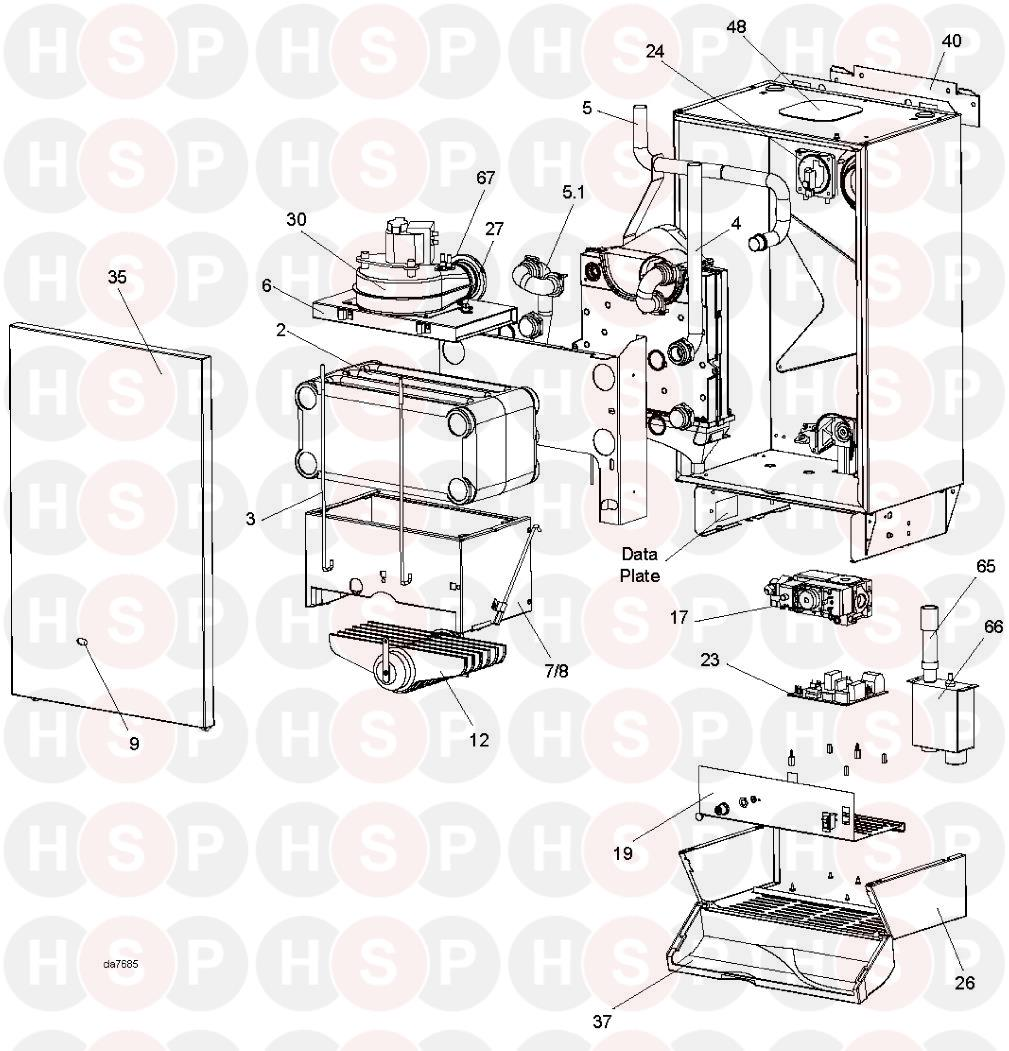 ideal classic he18  boiler exploded view  diagram