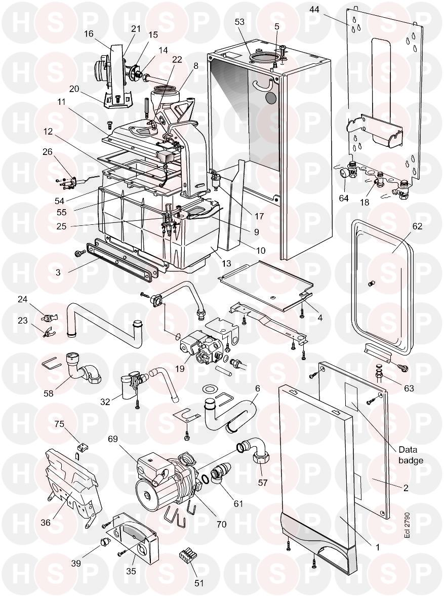 Boiler Exploded View diagram for Ideal Icos System HE24