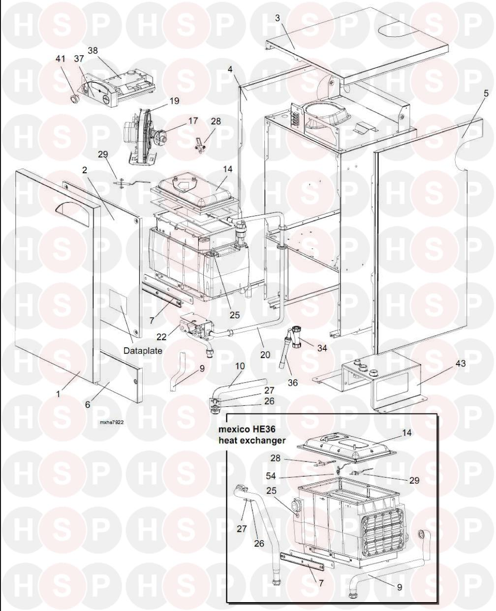 ideal mexico he 18 appliance diagram  exploded view