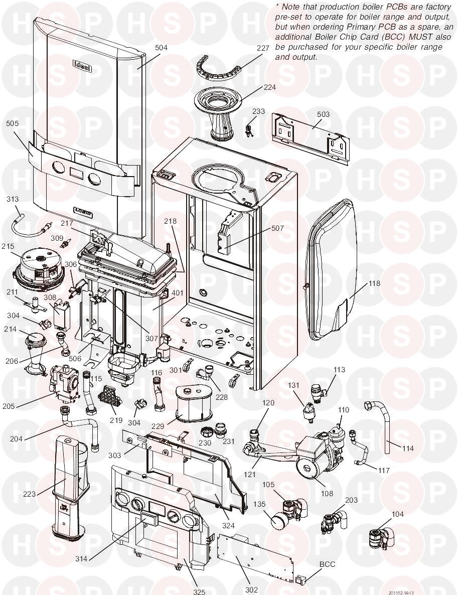 Ideal LOGIC SYSTEM 30 Appliance Diagram (BOILER EXPLODED