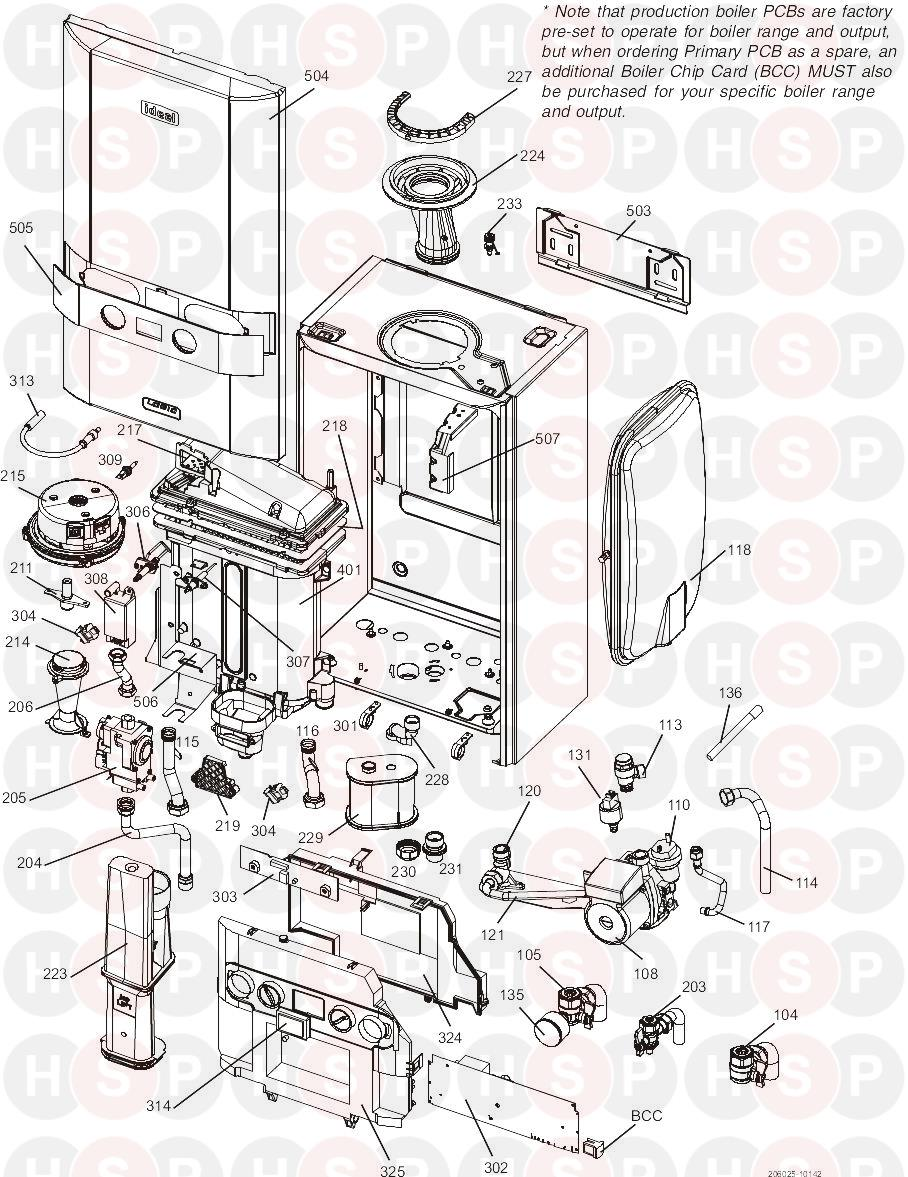 Ideal LOGIC + SYSTEM 30 (BOILER EXPLODED VIEW) Diagram