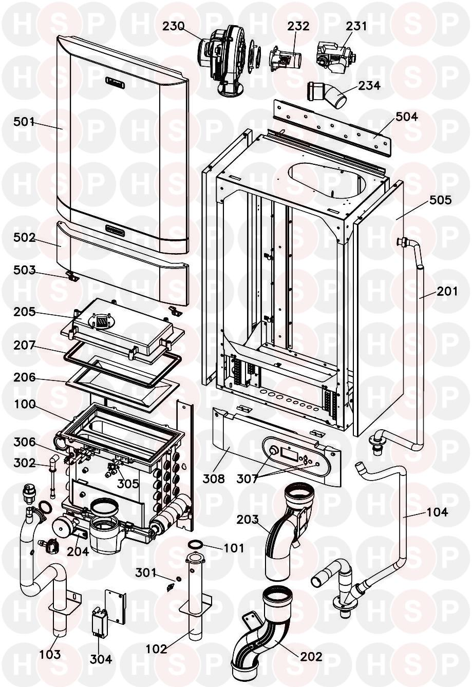 Ideal Evomax 40P Appliance Diagram (BOILER EXPLODED VIEW