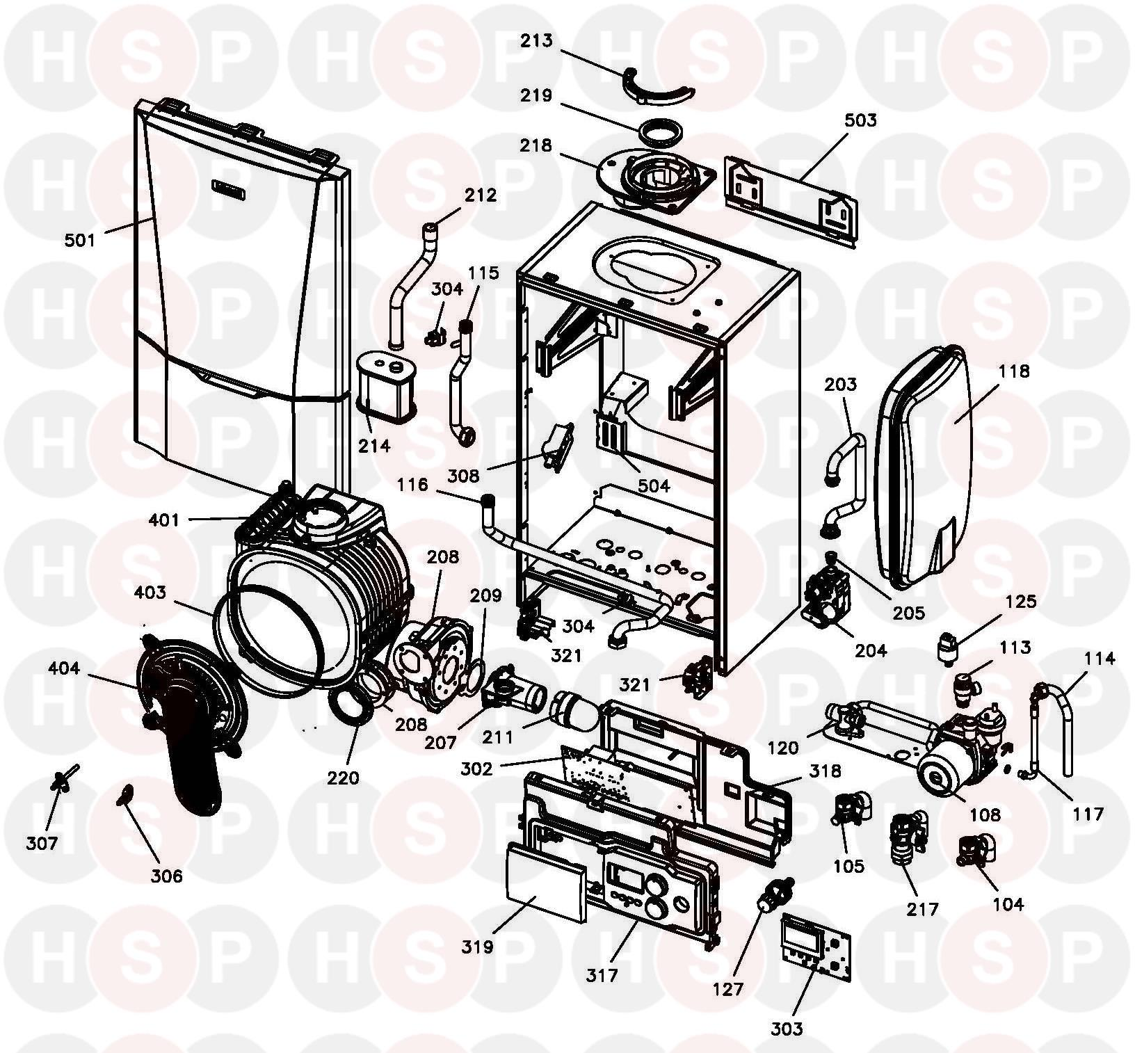 ideal s32 system  boiler exploded view  diagram