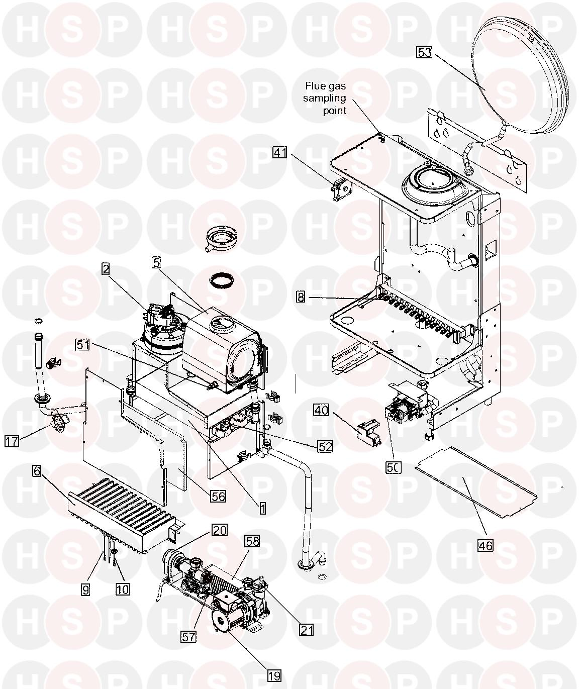 ideal he c24  boiler exploded view  diagram