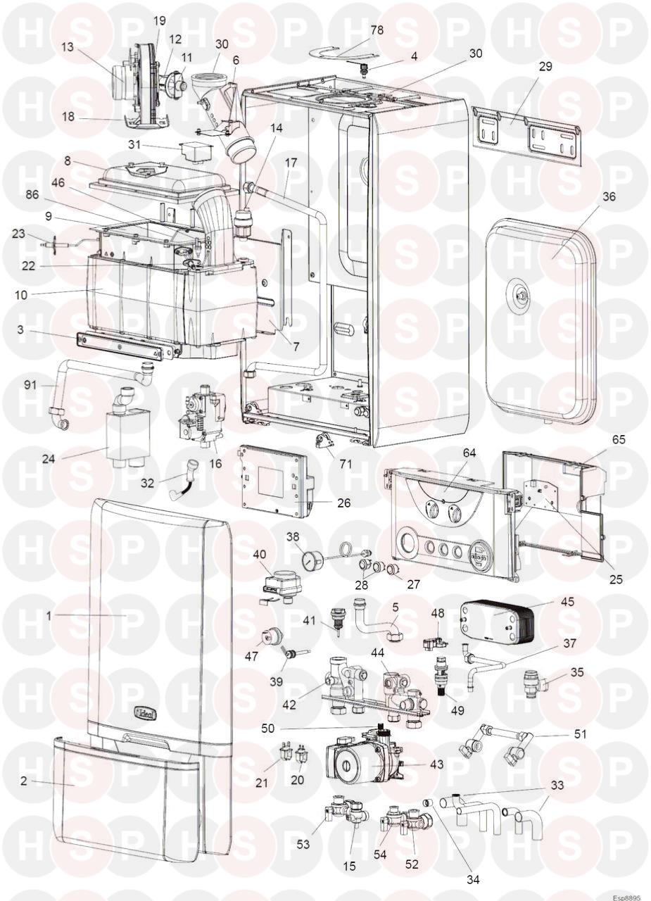 ideal he 24  boiler exploded view  diagram
