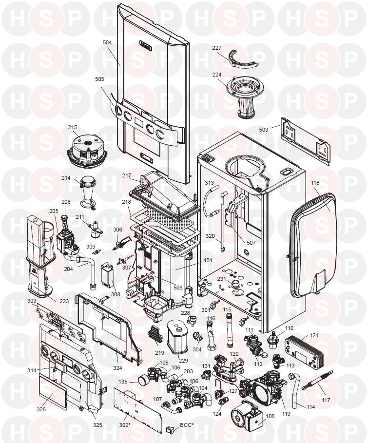 Ideal LOGIC COMBI 24 (BOILER EXPLODED VIEW ABK ONWARDS