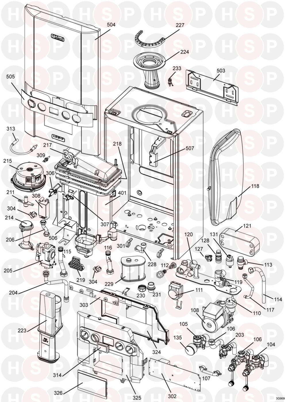 Ideal LOGIC + COMBI 35 (BOILER EXPLODED VIEW) Diagram