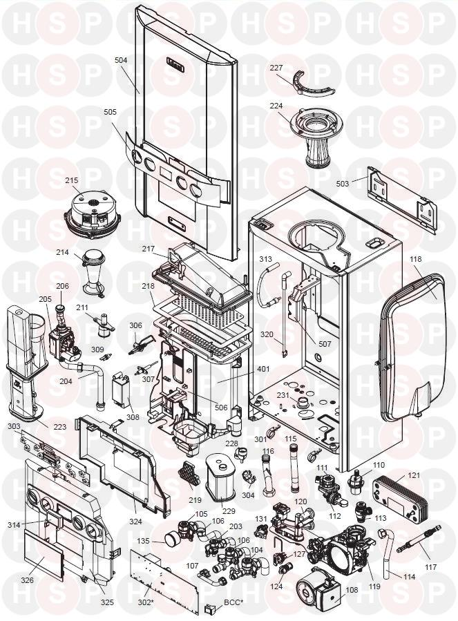 ideal logic   combi 30  boiler exploded view abk onwards  diagram