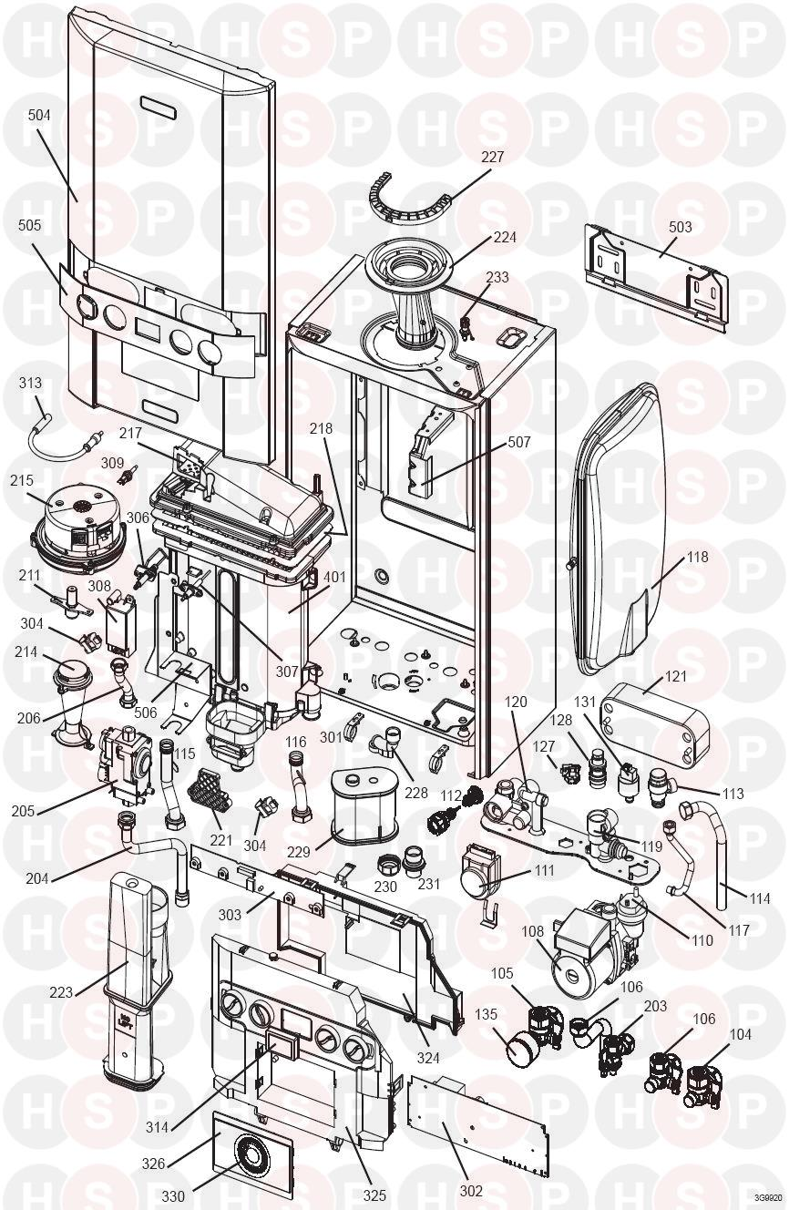 Ideal INDEPENDENT C24 (BOILER EXPLODED VIEW) Diagram