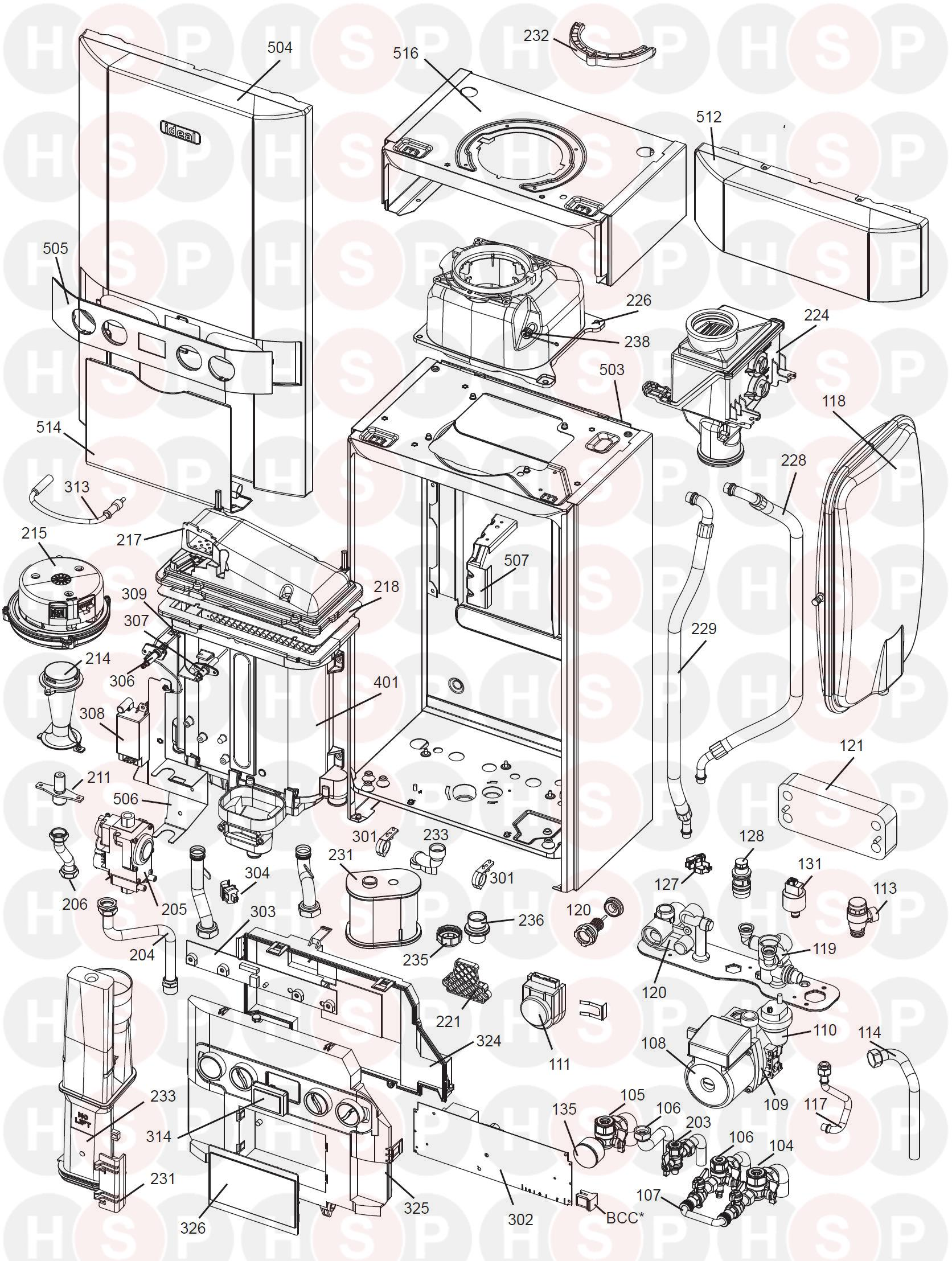 BOILER EXPLODED VIEW diagram for Ideal LOGIC CODE COMBI 26