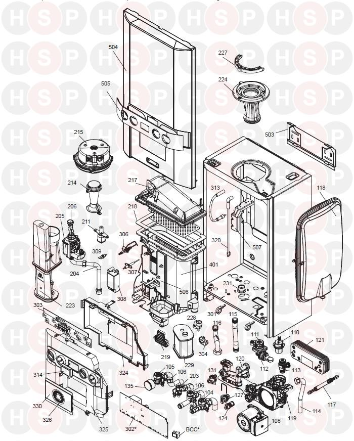 Ideal +C24 (BOILER EXPLODED VIEW ABK ONWARDS) Diagram