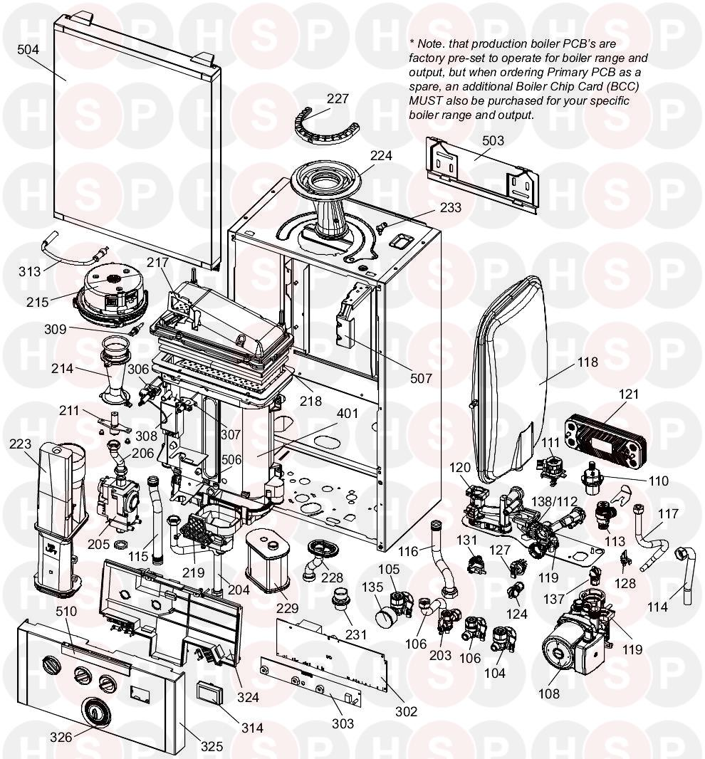 ideal esprit eco 24  boiler exploded view  diagram