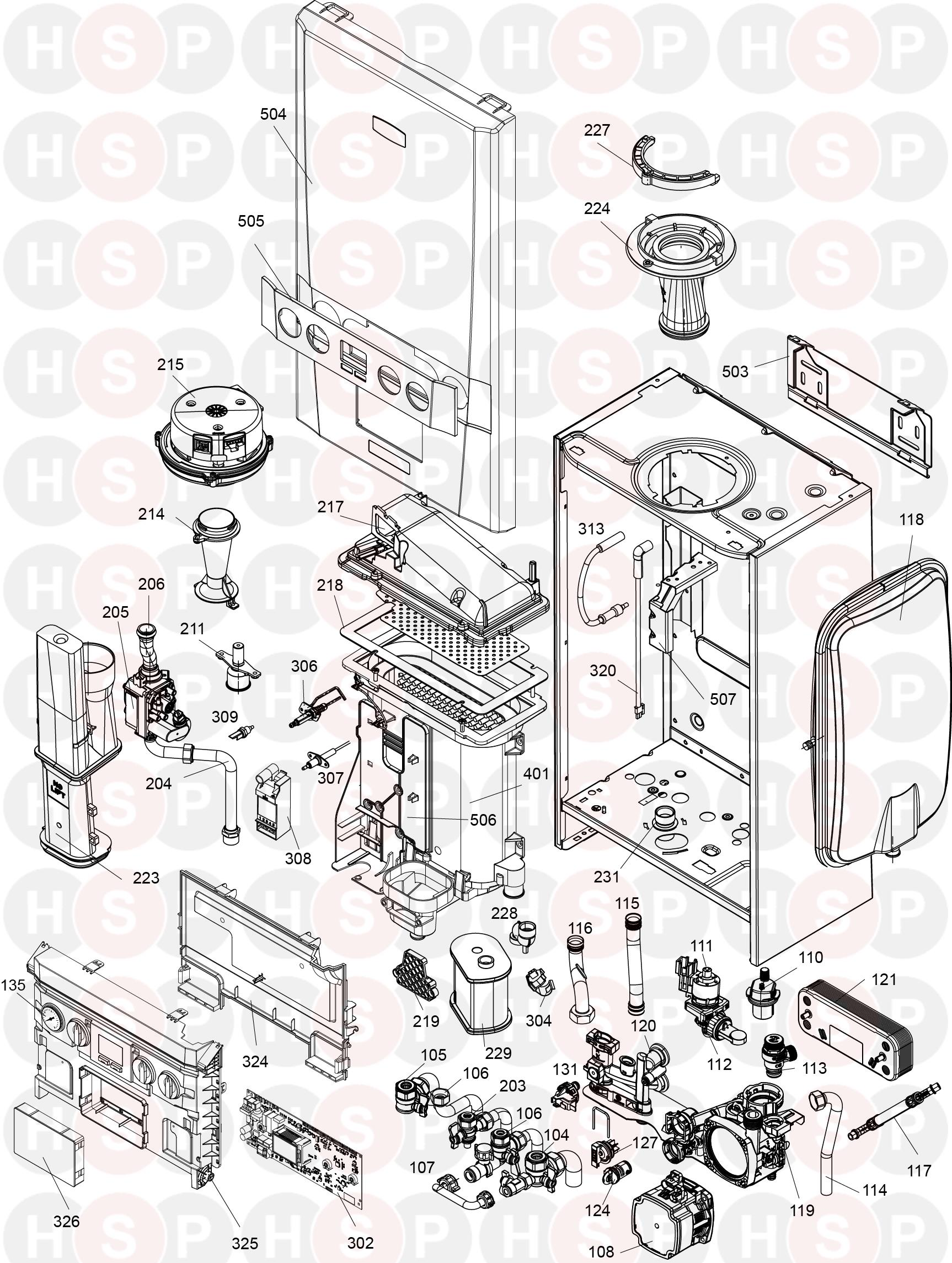 Ideal 30 Combi Esp1  Boiler Exploded View Diagram