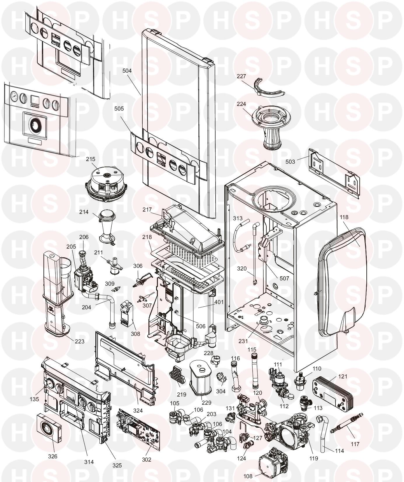 Ideal Independent Combi 30  Boiler Exploded View Diagram