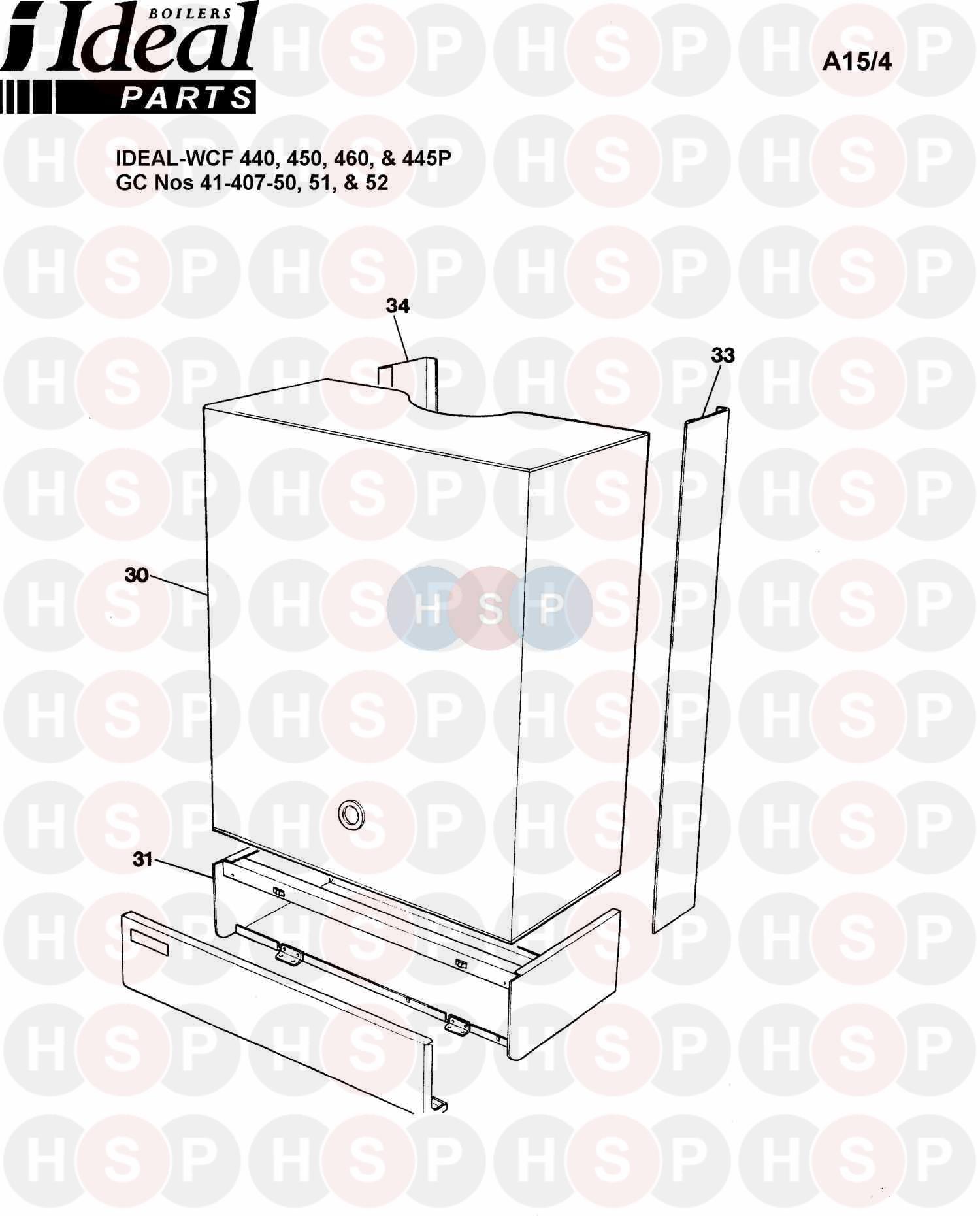 ideal concord wcf 450  boiler casing  diagram