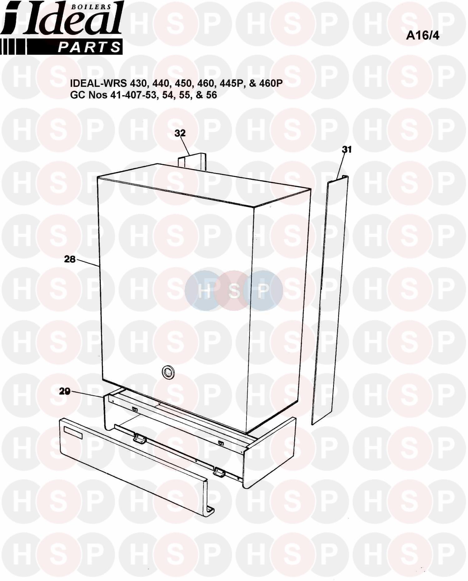 ideal concord wrs 460  boiler casing  diagram