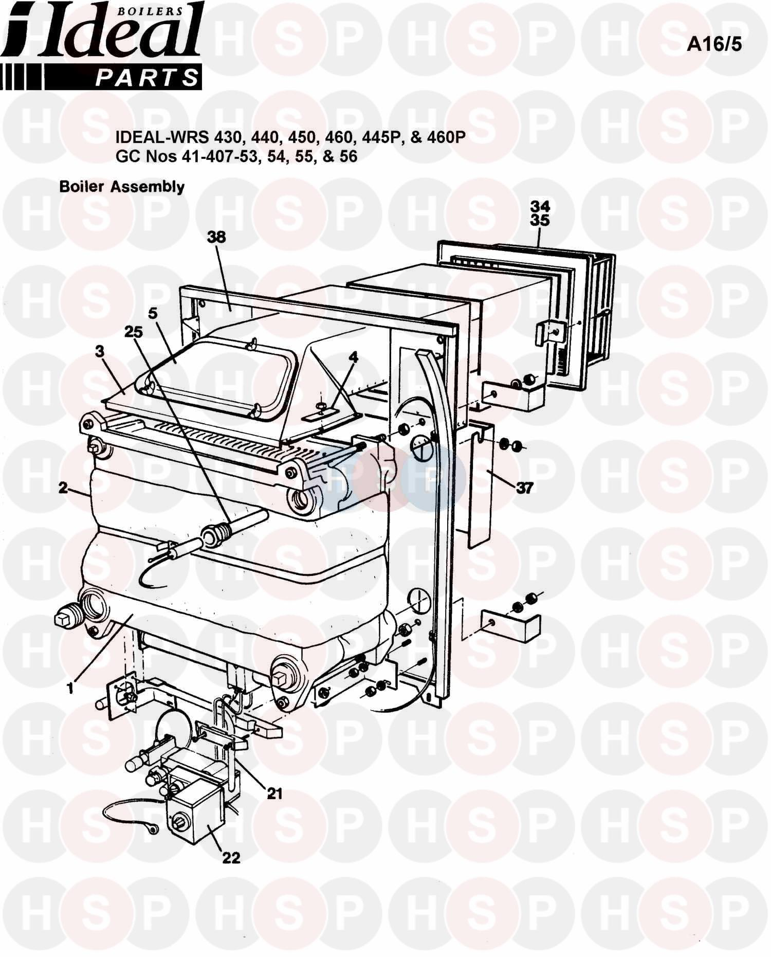 ideal concord wrs 430 appliance diagram  boiler assembly 1