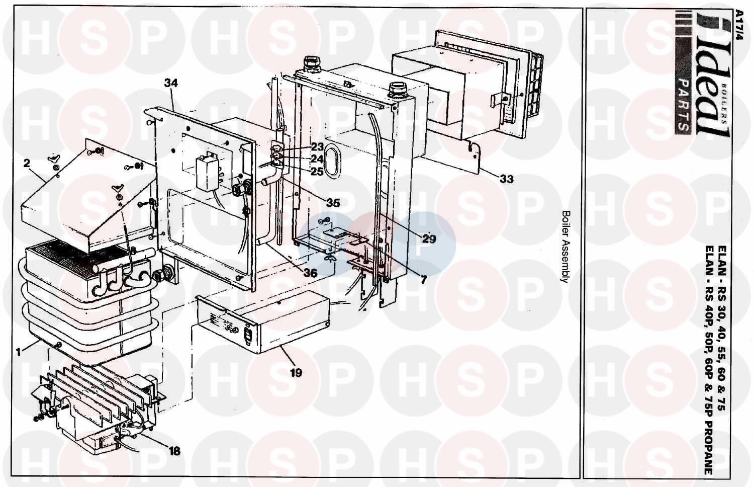 ideal elan rs 60  boiler assembly 1  diagram